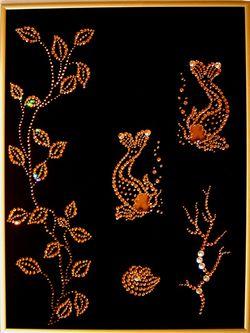 Золотая вышивка из страз 552